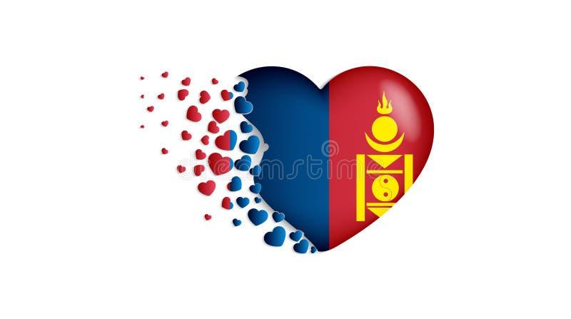 Bandeira nacional de Mongólia na ilustração do coração Com amor ao país de Mongólia A bandeira nacional de Mongólia para voar par ilustração stock
