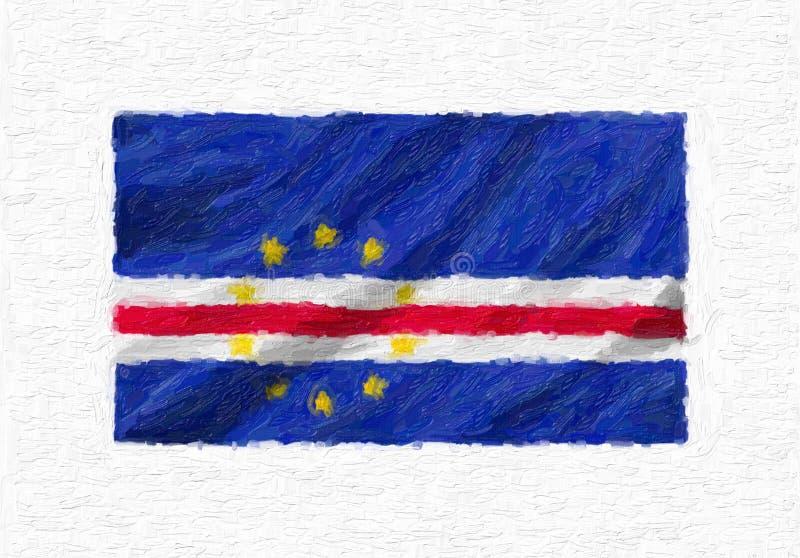 Bandeira nacional de ondulação pintado à mão de Cabo Verde, pintura de óleo isolada ilustração do vetor