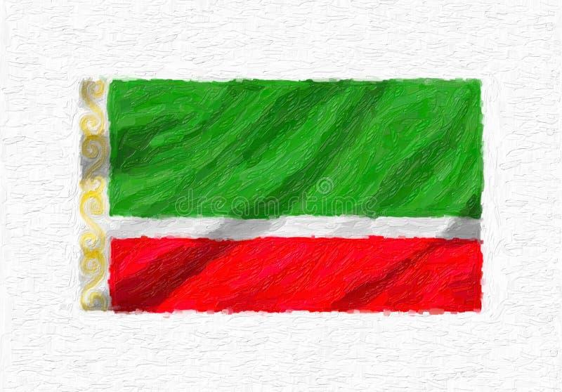 A bandeira nacional de ondulação pintado à mão de Chechnya, pintura de óleo isolou o ilustração royalty free