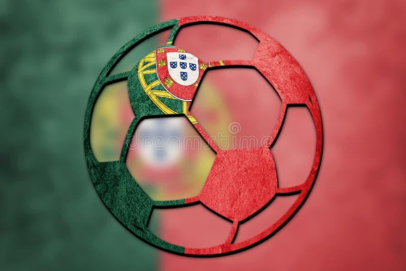 Bandeira nacional de Portugal da bola de futebol Bola do futebol de Portugal fotografia de stock royalty free