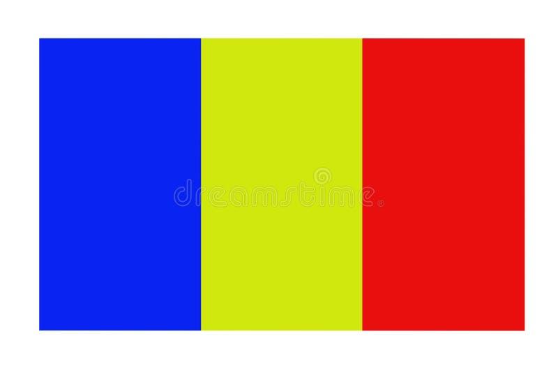 A bandeira nacional de Romênia A bandeira é coincidentemente muito similar à bandeira civil de Andorra e à bandeira do estado de  ilustração stock