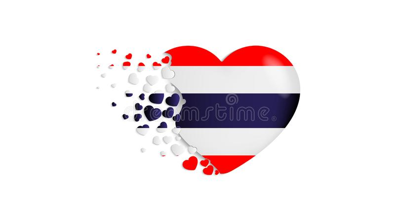 Bandeira nacional de Tailândia na ilustração do coração Com amor ao país de Tailândia A bandeira nacional de Tailândia para voar  ilustração royalty free