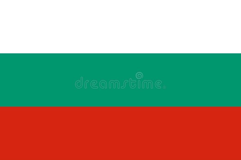 Bandeira nacional de tricolor horizontal de Bulgária de branco, de verde e de vermelho Bandeira de Bulgária, proporção oficial co ilustração royalty free