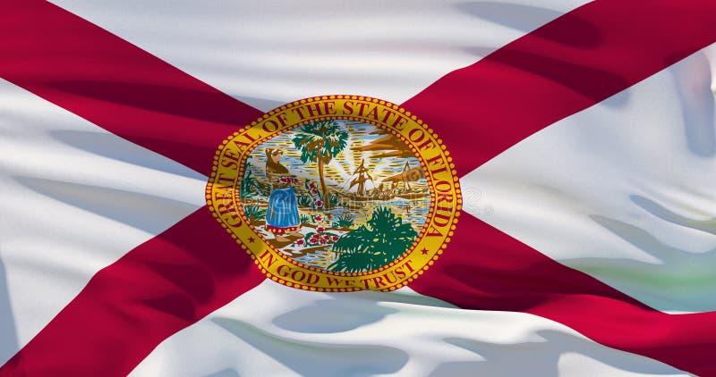 Bandeira nacional detalhada de ondulação do estado de Florida, E.U., ilustração 3d ilustração royalty free