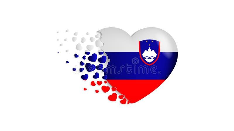 Bandeira nacional do Eslovênia na ilustração do coração Com amor ao país do Eslovênia A bandeira nacional do Eslovênia para voar  ilustração do vetor