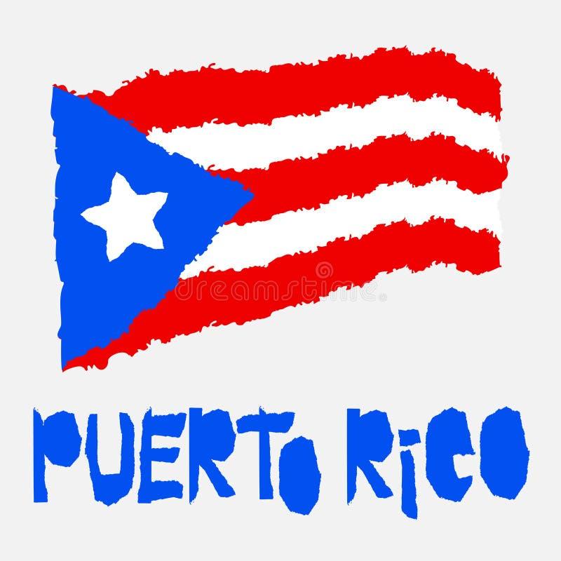 Bandeira nacional do vintage de Porto Rico no estilo de papel rasgado da textura do grunge Fundo do Dia da Independência Isolado  ilustração royalty free