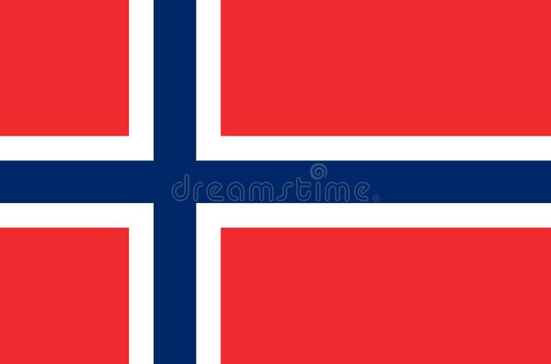 Bandeira nacional norueguesa, bandeira oficial de cores exatas de Noruega ilustração do vetor