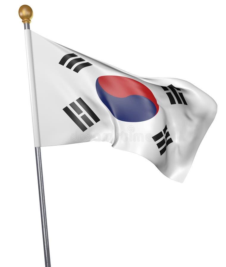 Bandeira nacional para o país de Coreia do Sul isolado no fundo branco ilustração do vetor