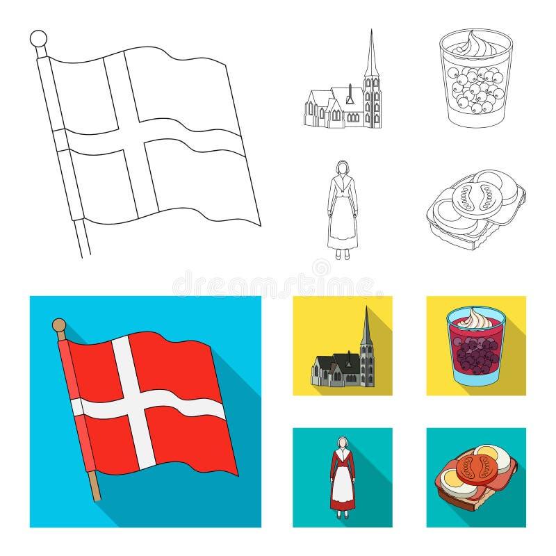 Bandeira, nacional, símbolo, e o outro ícone da Web no esboço, estilo liso Dinamarca, história, turismo, ícones na coleção do gru ilustração do vetor