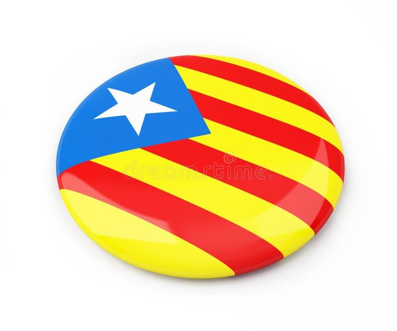 Bandeira nacionalista Catalan em uma ilustração branca do fundo 3D, do crachá rendição 3D ilustração royalty free