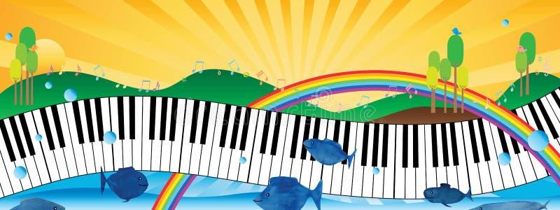 Bandeira natural do piano da música ilustração stock