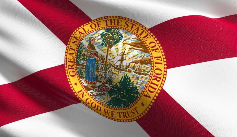 Bandeira no Estados Unidos da América, EUA do estado de Florida, fundindo no vento isolado Projeto abstrato patriótico oficial 3d ilustração stock