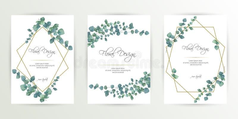 Bandeira no fundo da flor Convite do casamento, projeto de cart?o moderno Salvar os moldes do cartão de data ajustados com as hor ilustração royalty free