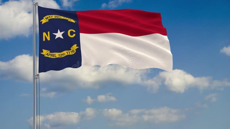 Bandeira norte de Carolina State no vento contra a rendição do céu nebuloso 3d ilustração stock