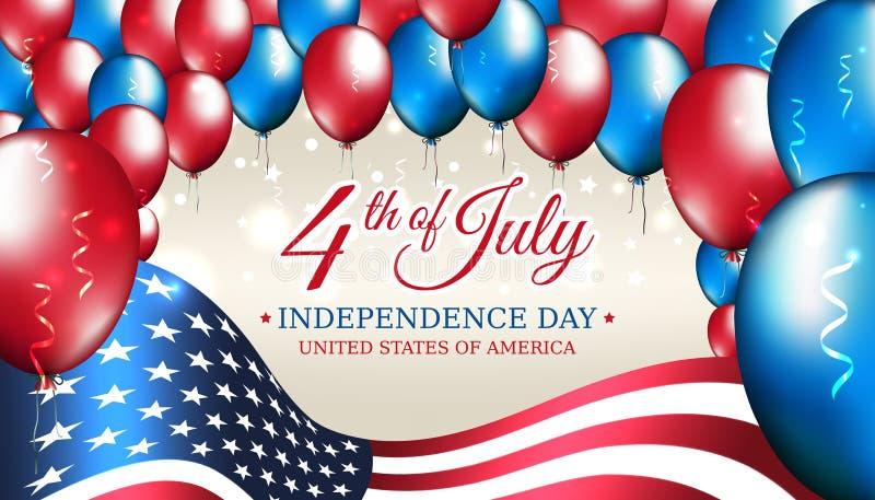 Bandeira 4o do Dia da Independência de julho EUA, bandeira americana do molde do vetor, balões coloridos no fundo estrelado Quart ilustração stock
