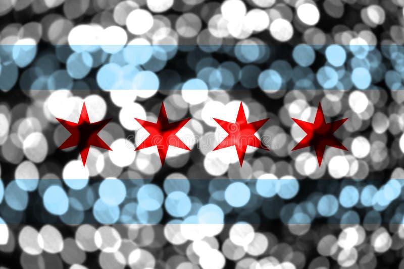 Bandeira obscura abstrata do bokeh de Chicago, Illinois Natal, ano novo e bandeira do conceito do dia nacional Estados Unidos da  ilustração stock