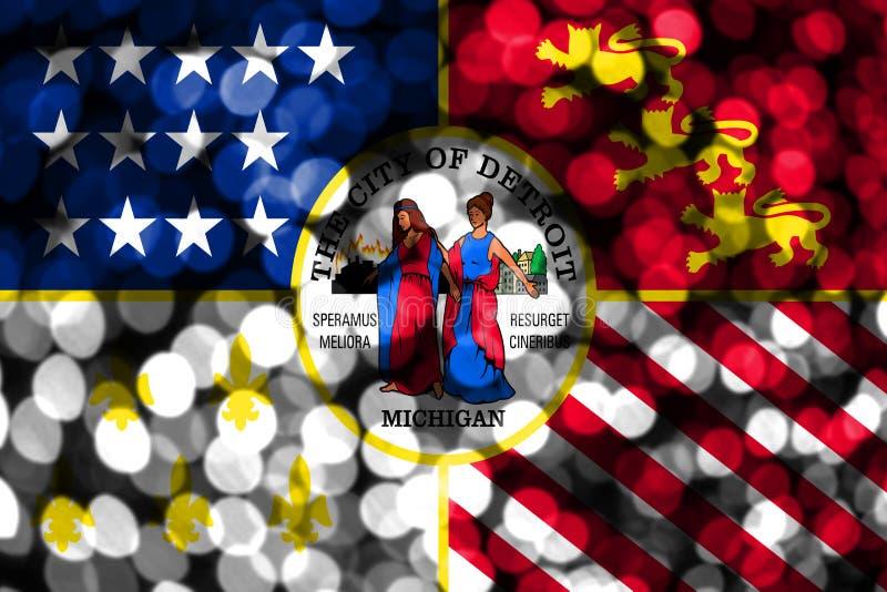 Bandeira obscura abstrata do bokeh de Detroit, Michigan Natal, ano novo e bandeira do conceito do dia nacional Estados Unidos da  ilustração do vetor