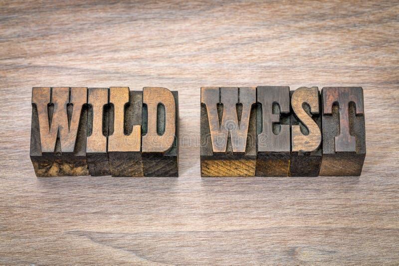 Bandeira ocidental selvagem no woodtype da tipografia imagens de stock royalty free