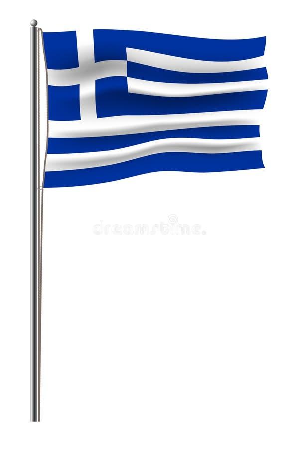 A bandeira oficial da União Europeia do vetor conectou a um mastro do metal por uma corda Isolado na bandeira branca da UE do vet ilustração stock