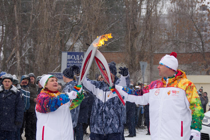 Bandeira olímpica em Voronezh imagem de stock royalty free