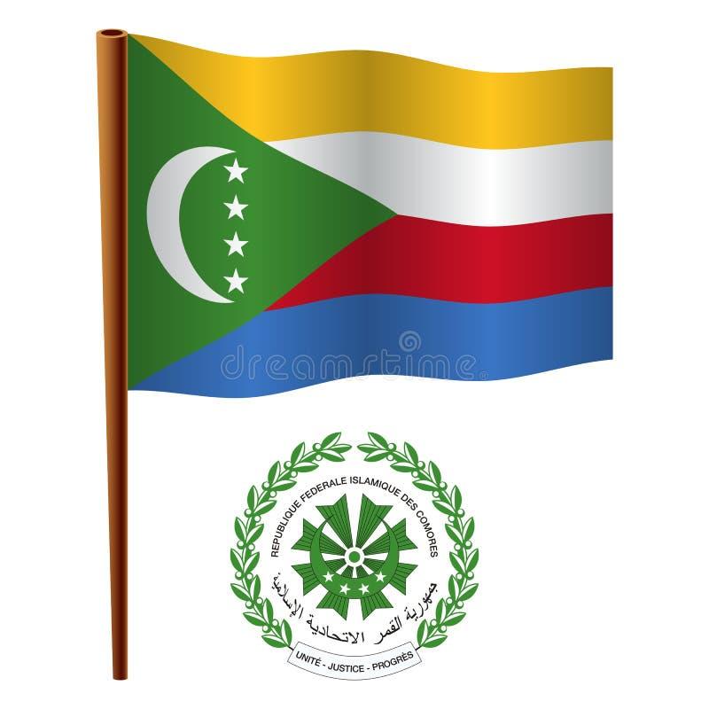 Bandeira ondulada de Comores ilustração do vetor
