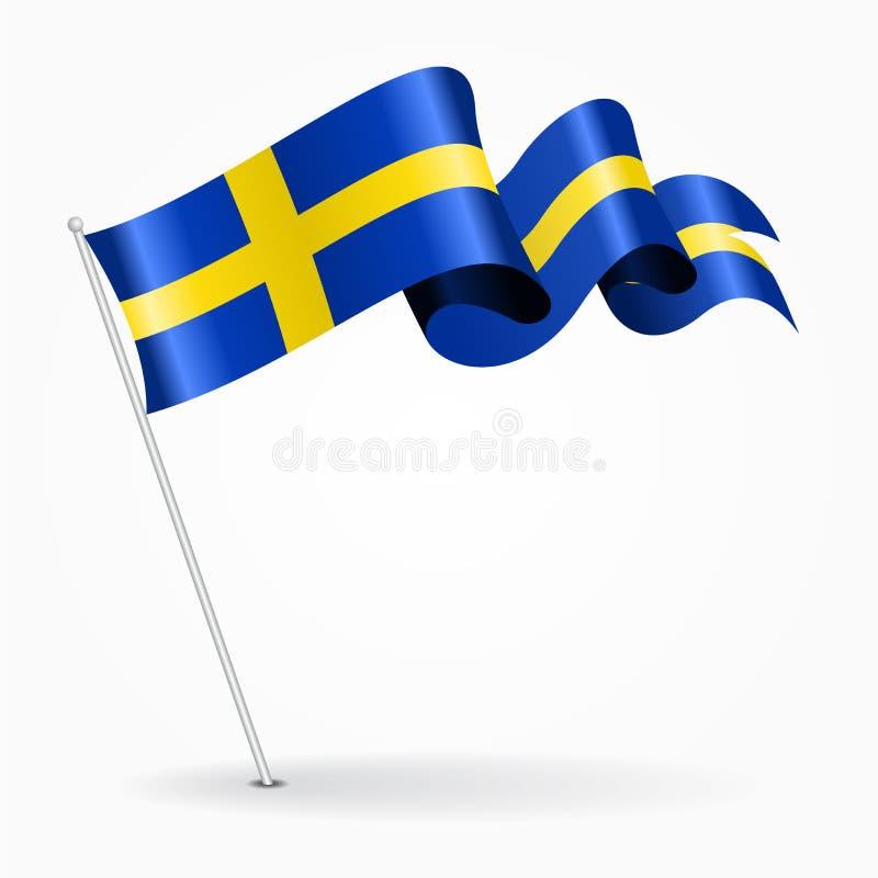 Bandeira ondulada do pino sueco Ilustração do vetor ilustração stock