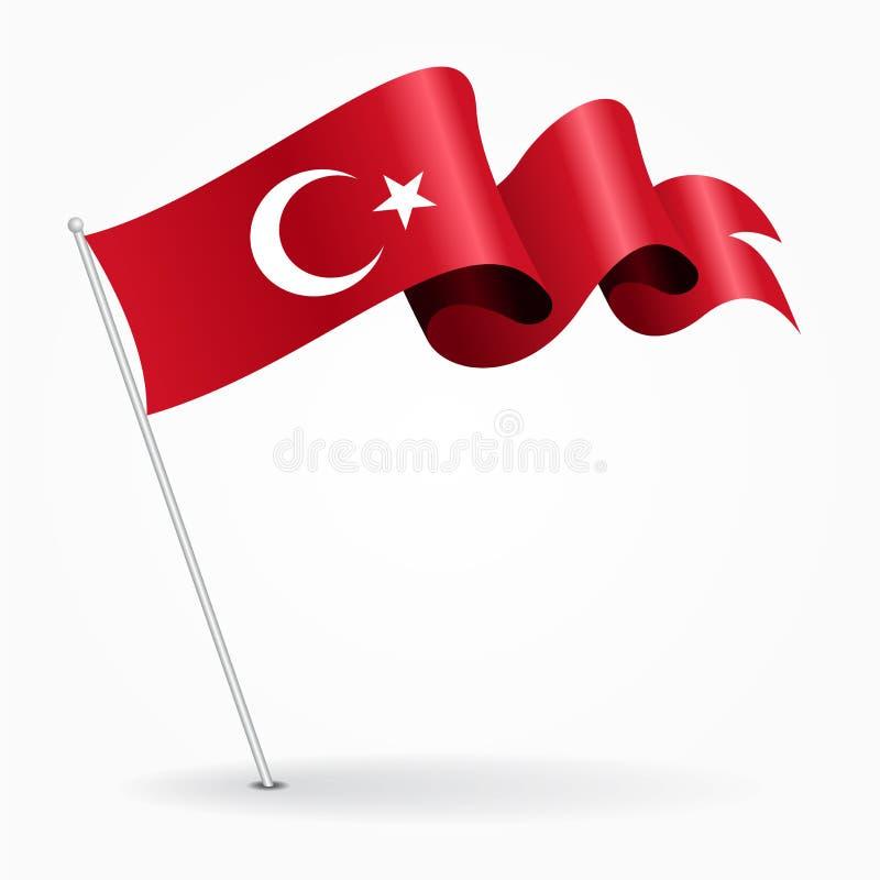 Bandeira ondulada do pino turco Ilustração do vetor ilustração royalty free