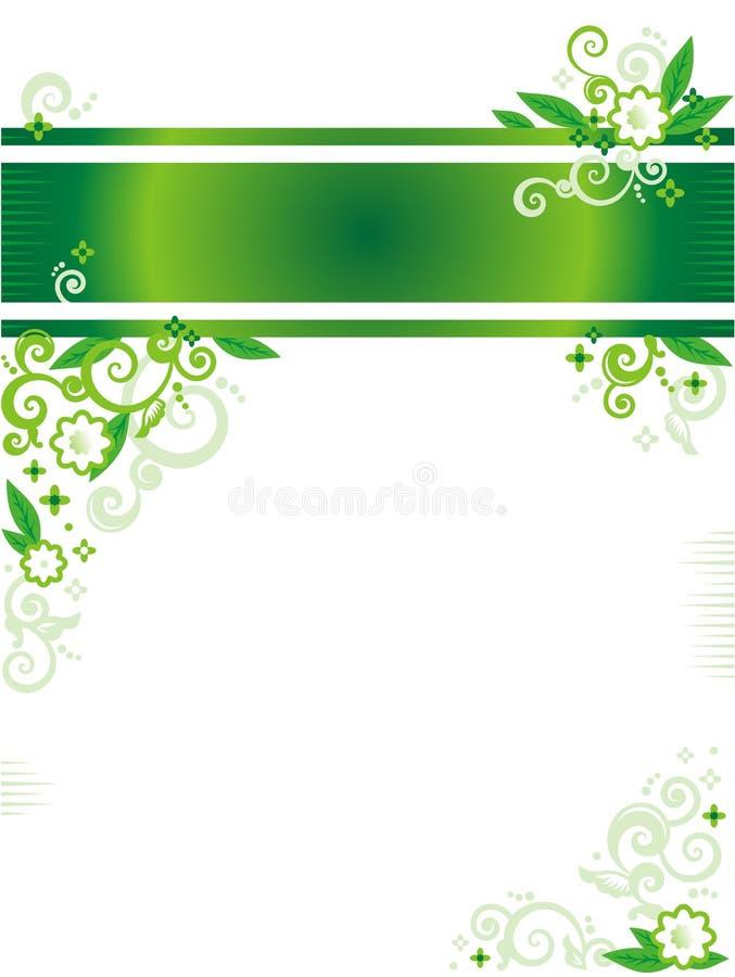Bandeira ou cabeçalho e canto florais verdes ilustração stock