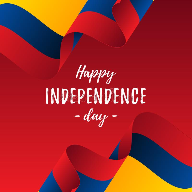 Bandeira ou cartaz da celebração do Dia da Independência de Colômbia Bandeira de Colômbia Ilustração do vetor ilustração royalty free