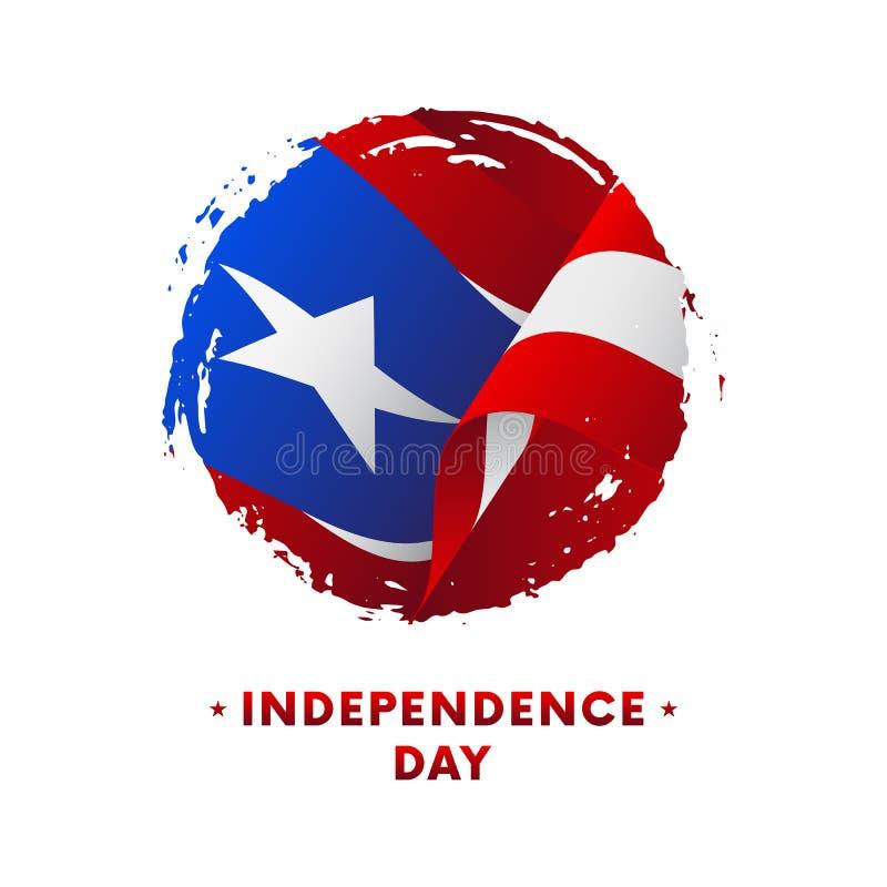 Bandeira ou cartaz da celebração do Dia da Independência de Porto Rico Bandeira de ondulação de Porto Rico, fundo do curso da esc ilustração royalty free