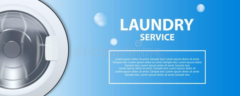 Bandeira ou cartaz do serviço de lavanderia Ilustração realística do cilindro 3d da máquina de lavar Vista dianteira, close-up, p ilustração royalty free