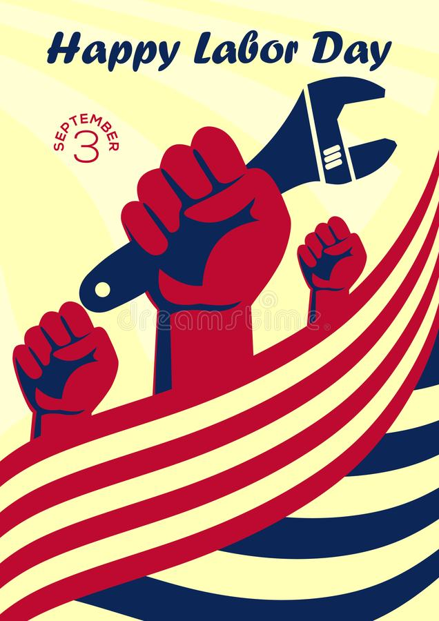 Bandeira ou cartaz feliz do vintage do Dia do Trabalhador ilustração royalty free