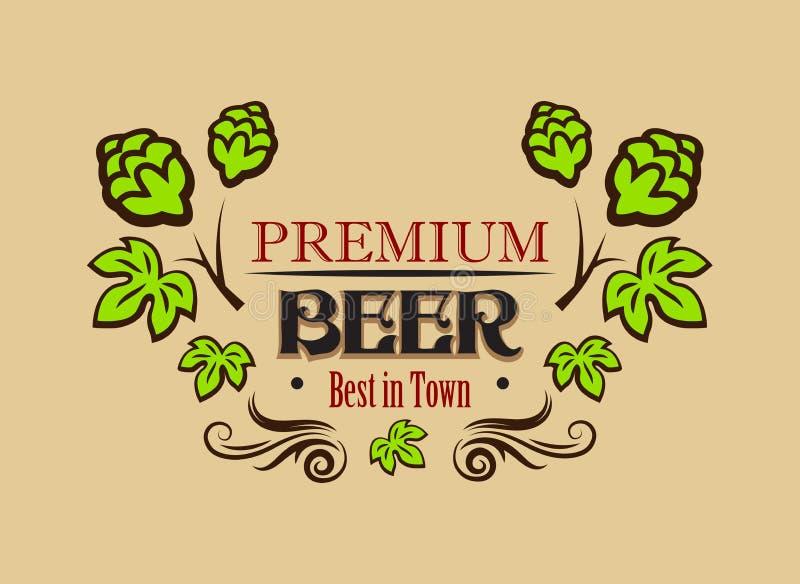 Bandeira ou emblema superior da cerveja ilustração stock