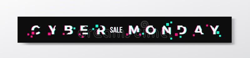 Bandeira ou encabeçamento à moda de segunda-feira do Cyber Conceito moderno da tipografia do pixel com efeito do pulso aleatório  ilustração royalty free