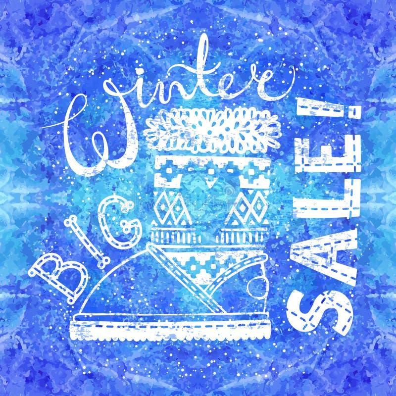 Bandeira ou etiqueta especial do inverno com a bota no fundo da aquarela Do conceito sazonal da compra do negócio venda grande ilustração do vetor