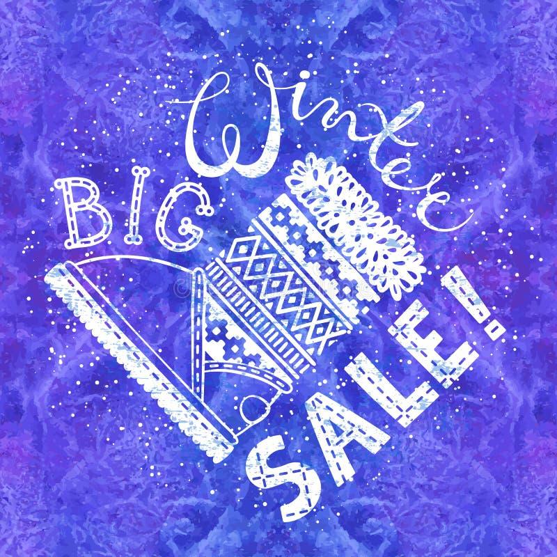 Bandeira ou etiqueta especial do inverno com a bota no fundo da aquarela Do conceito sazonal da compra do negócio venda grande ilustração royalty free