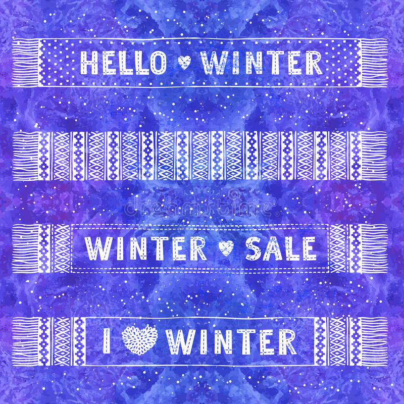 Bandeira ou etiqueta especial do inverno com os scarves de lã feitos malha Venda sazonal do conceito da compra do negócio ilustração do vetor