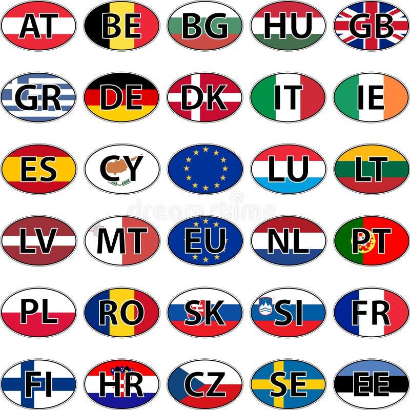 Bandeira oval da etiqueta dos países da União Europeia ilustração stock