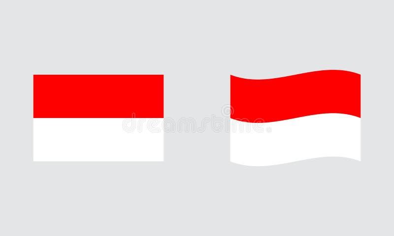 Bandeira padrão editorial da bandeira de Indonésia e bandeira ondulada imagem de stock