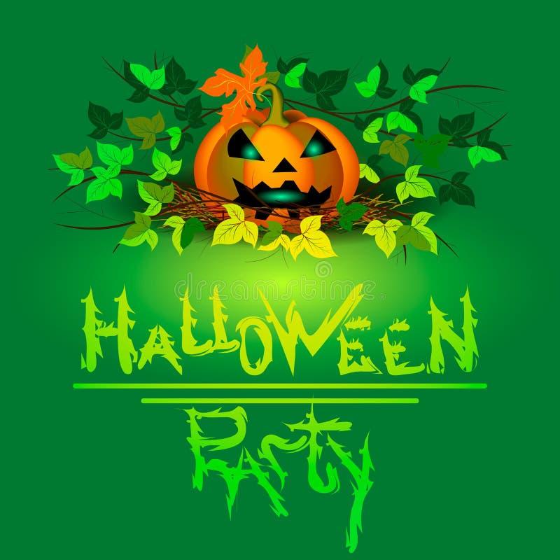 Bandeira para Halloween Abóbora com os olhos de incandescência entre a folha em um fundo verde ilustração do vetor