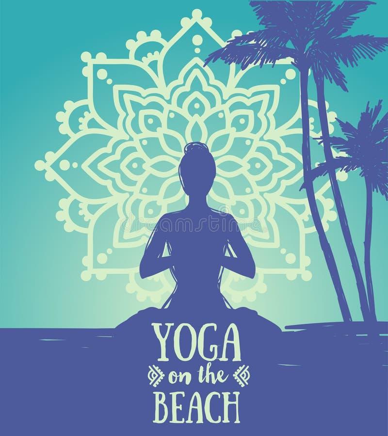 Bandeira para a ioga na praia com a senhora no asana dos lótus no ornamento da mandala ilustração royalty free