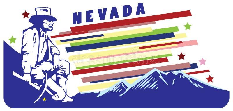 Bandeira para Nevada EUA ilustração stock