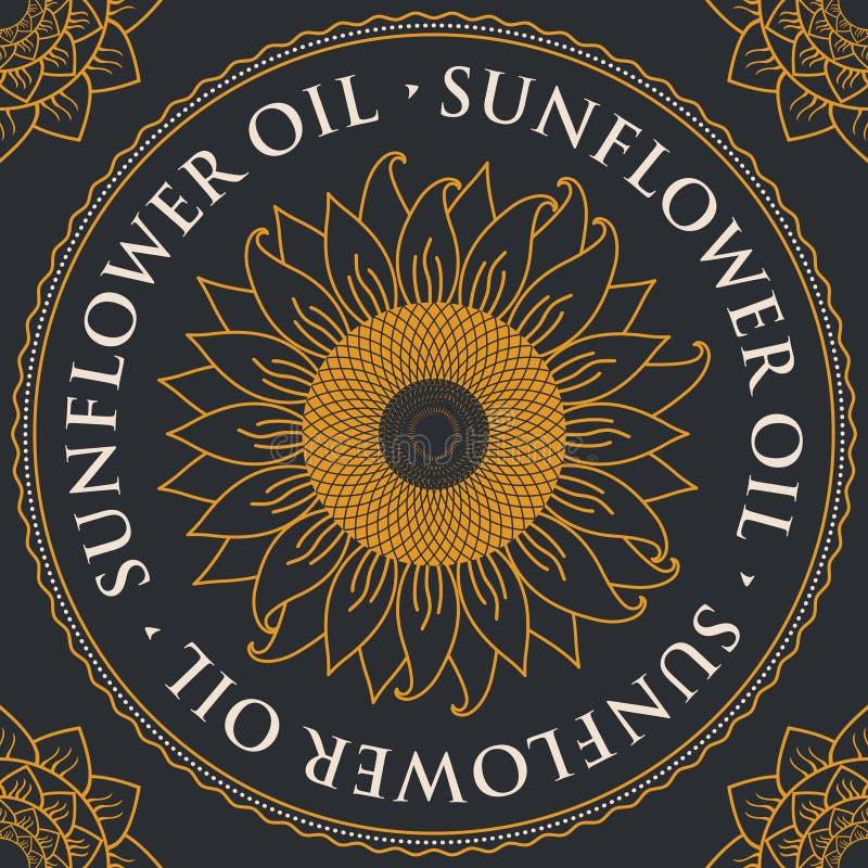 Bandeira para o óleo de girassol refinado com girassol ilustração royalty free