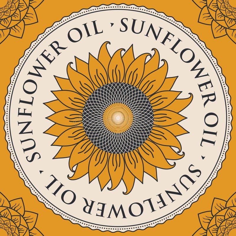 Bandeira para o óleo de girassol refinado com girassol ilustração do vetor