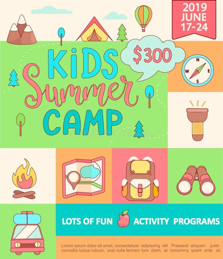 Bandeira para o acampamento de verão das crianças ilustração stock