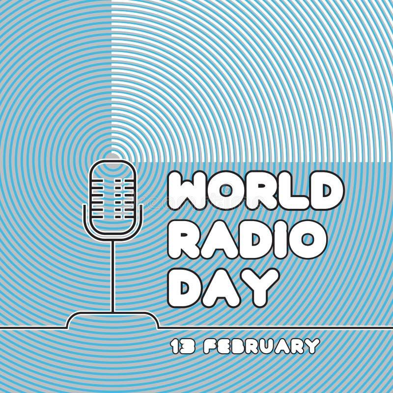 Bandeira para o dia de rádio do mundo no fundo azul Vetor ilustração royalty free