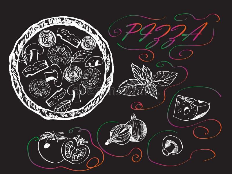 Bandeira para a pizza com uma imagem gráfica da pizza ilustração do vetor