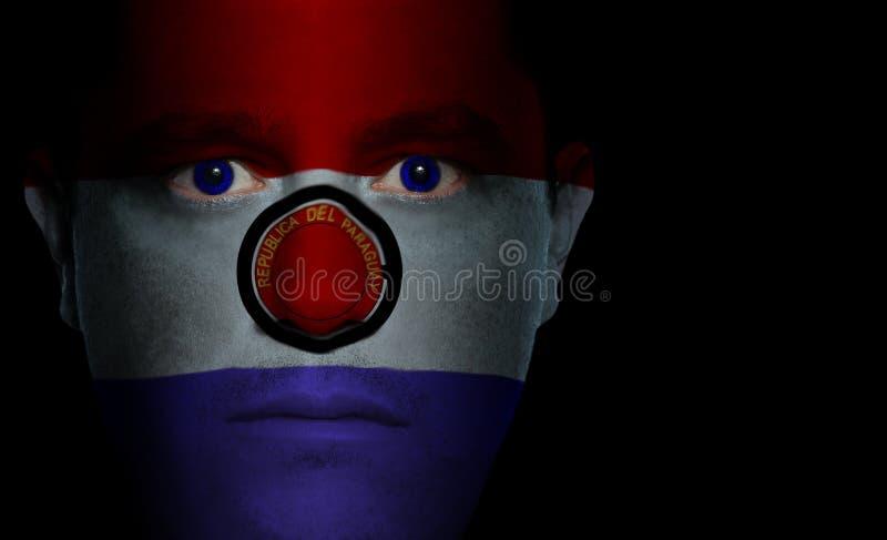 Bandeira paraguaia - face masculina fotografia de stock royalty free
