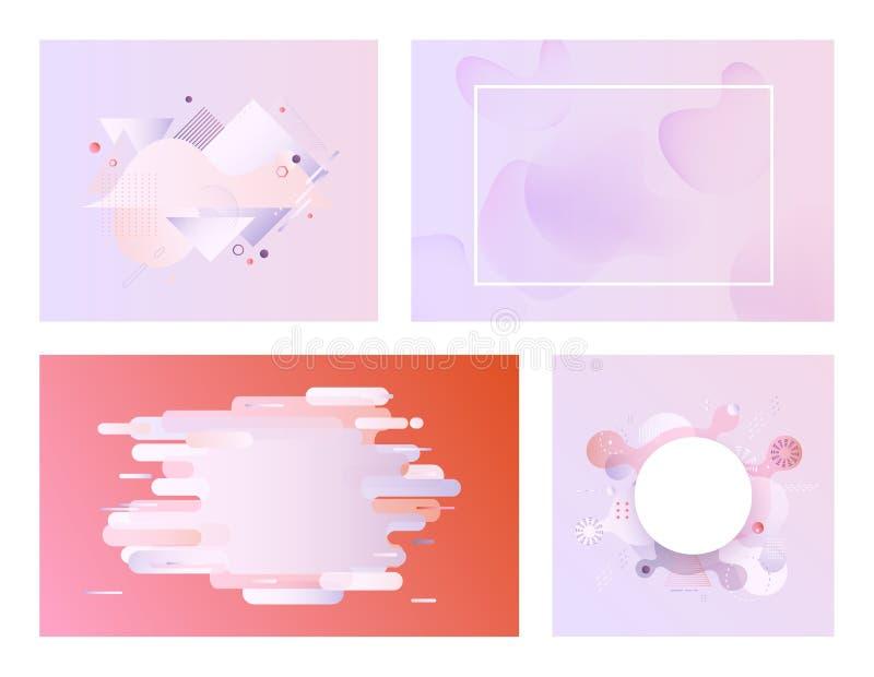 A bandeira pastel do inclinação ajustou - moldes macios modernos com bolha fluida do sumário da cor e formas geométricas ilustração do vetor
