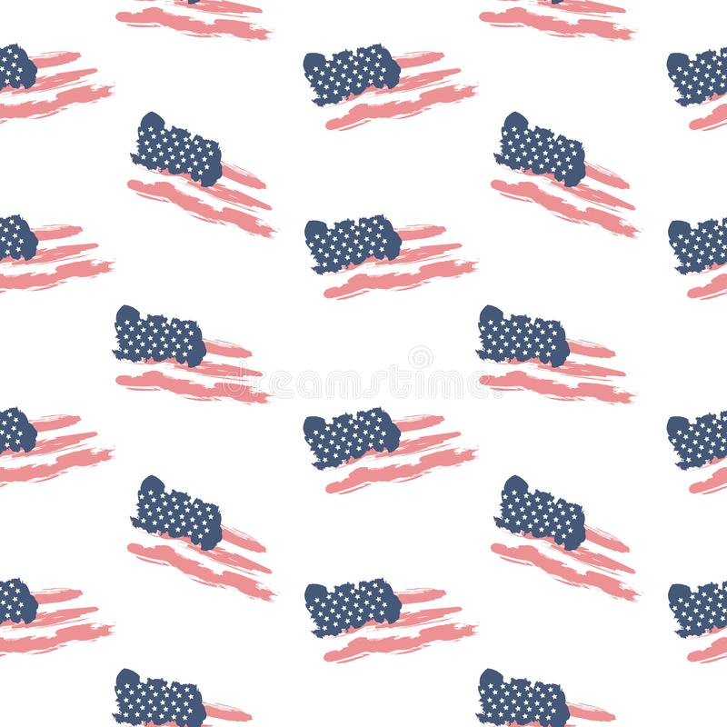 Bandeira patriótica sem emenda EUA do teste padrão ilustração do vetor